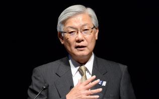 講演するNECの新野隆社長(10日、東京・大手町)
