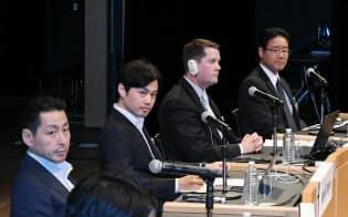 討論する(左から)中村、山根、ハリントン、岩男の各氏(10日、東京・大手町)