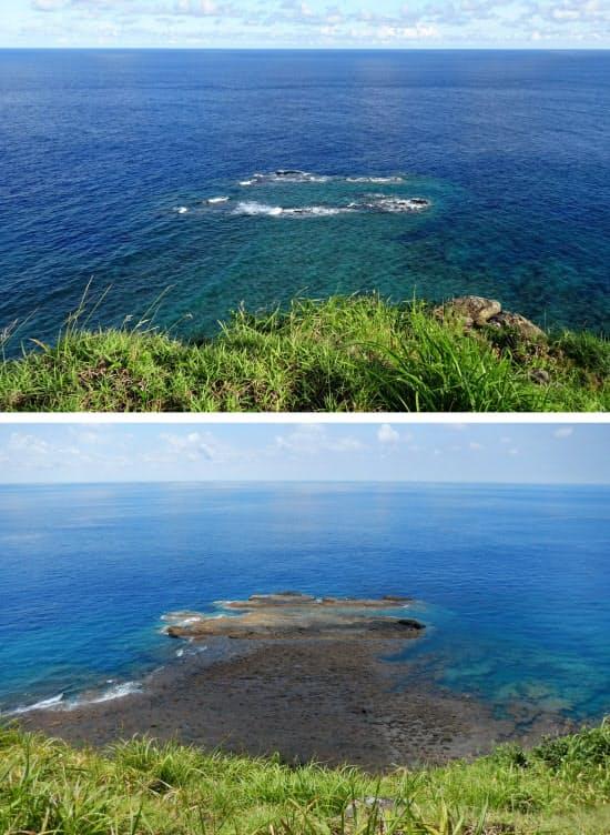 沖縄県・与那国島にある岩「トゥイシ」の満潮時(上)と干潮時の様子(2017年7月)=国土地理院提供・共同