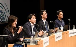 討論する(左から)塚本、中島、川鍋、井田の各氏(11日午前、東京・大手町)