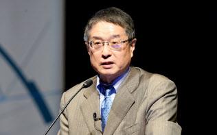 講演する藤原洋・ブロードバンドタワー会長兼社長(11日午前、東京・大手町)