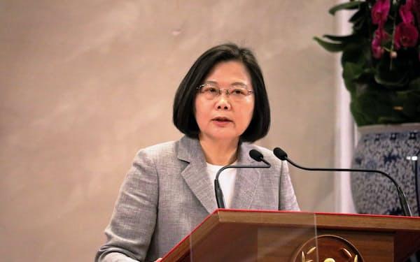 台湾の蔡英文総統は、総統選に向けた民進党の予備選で敗れれば20年5月に任期満了での退任が確定する(5月、台北市内)