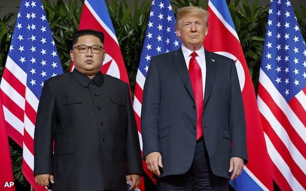 共同声明に盛られた完全非核化はほとんど前進していない(2018年6月にシンガポールで開いた米朝首脳会談)=AP