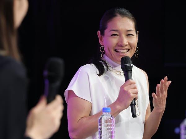 「WOMAN EXPO TOKYO 2019」で話すテニスプレーヤーの伊達公子さん(5月19日、東京都港区)