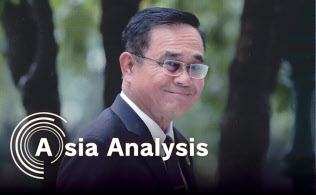タイ国会での首相選出から一夜明け、首相府での会議に姿を現したプラユット次期首相(6月6日、バンコク)=三村幸作撮影