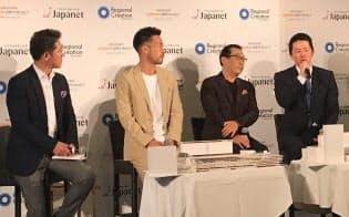 V・ファーレン長崎の新スタジアムの運営などを担う事業会社の設立発表会に出席した高田旭人社長(右)