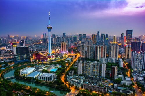 OYOとH Hotelがメディア発表を行った成都市の景観(図虫提供)