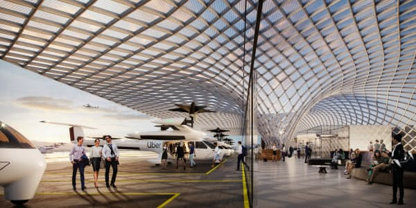 ウーバーの空飛ぶタクシーの離着陸場のイメージ