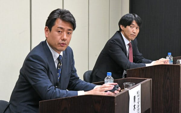 株価座談会で討論する青木大樹氏(左)と藤井智朗氏(12日、東京・大手町)