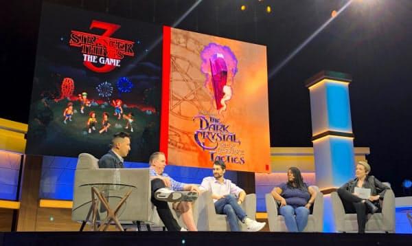 ネットフリックスは独自作品のゲーム化に本格的に乗り出す。(12日、米ロサンゼルスで開いたイベント)