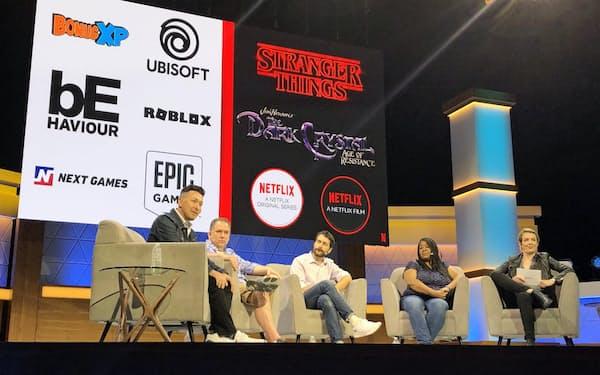 ネットフリックスは独自番組を題材にしたゲームづくりを始めると発表した(12日、米ロサンゼルス)