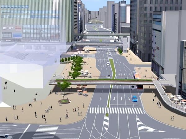 「三宮クロススクエア」の東側は2025年ごろに10車線から6車線になる予定=神戸市提供