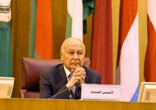 アラブ連盟のアブルゲイト事務局長は13日、ホルムズ海峡近くで発生したタンカー攻撃を非難した(4月21日、カイロ)=ロイター
