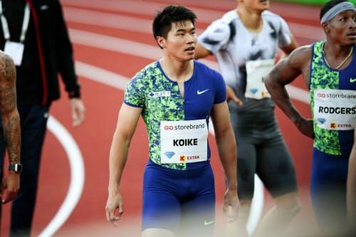 男子100メートルで5位だった小池祐貴(13日、オスロ)=AP