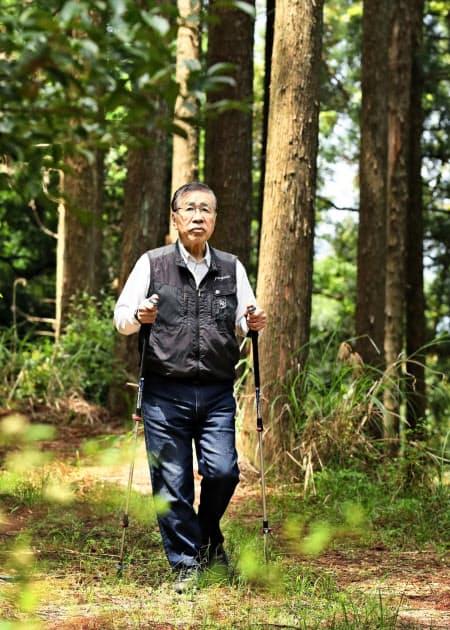 日光が差し込み、広葉樹や下草が育つスギ林を見回る後藤国利さん(大分県豊後大野市)