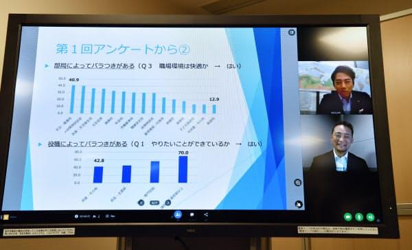 厚労省内の職場環境についてアンケート結果を小泉氏にレクチャーした