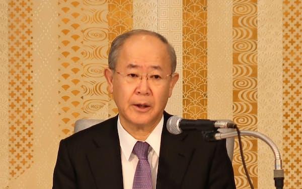 民放連の大久保会長はNHKに対してネット業務の費用上限の維持を求めた(14日午後、東京・千代田)