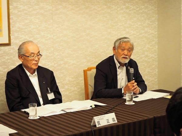 代表委員に選任された貫氏(左)と甲斐氏