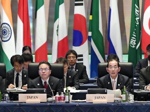 G20エネルギー・環境相会合に出席する原田環境相(右)(6月15日午前、長野県軽井沢町)