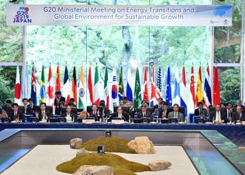 閉幕したG20エネルギー・環境相会合(16日午後、長野県軽井沢町)=共同