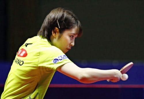 女子シングルス準決勝で敗れた平野美宇(16日、北海きたえーる)=共同