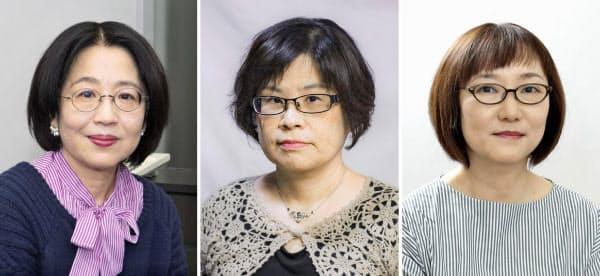 (写真左から)朝倉かすみ氏、大島真寿美氏=(C)古川義高、窪美澄氏(共同)