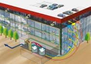 竹中工務店が展開するバイオガス設備のイメージ図。生ごみや排水を集め、電気や熱を建物に戻す(竹中工務店提供)