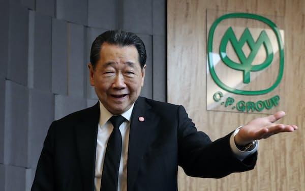 タイCPグループのタニン・チャラワノン氏(バンコク)=三村幸作撮影