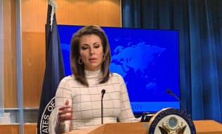 17日、オルタガス米国務省報道官はタンカー攻撃にイランが関与したと主張した(ワシントン)