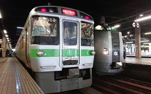 快速エアポートは最大でも1時間あたり4本の運行にとどまっている(JR札幌駅)