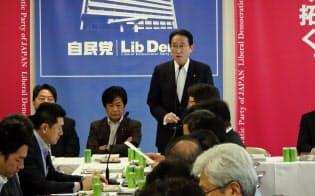 自民党は中小企業対策に力を入れる(18日、自民党本部)