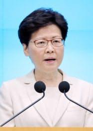 記者会見する林鄭月娥行政長官(18日、香港)=小林健撮影