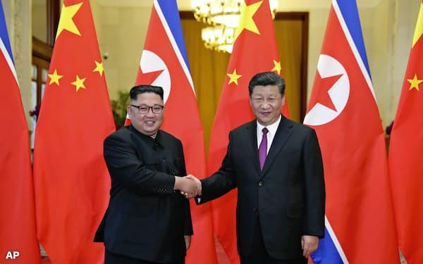 中国の習近平国家主席(右)と北朝鮮の金正恩委員長の首脳会談は5回目となる=AP