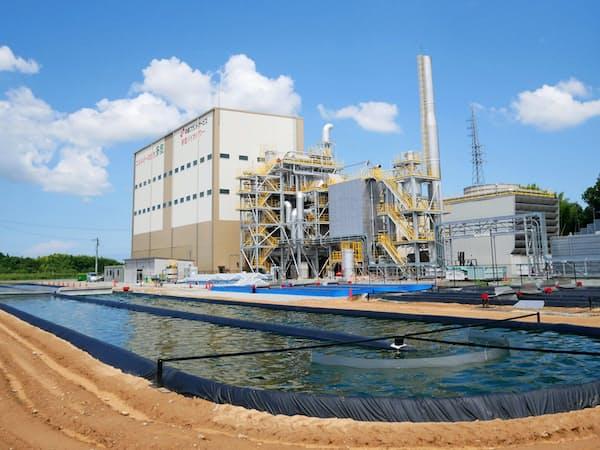 ユーグレナは国内で火力発電所の排熱を使ったミドリムシ培養を始めている(三重県)
