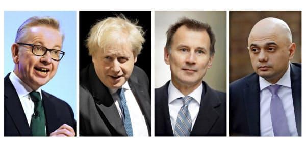 メイ首相の後任は(左から)ゴーブ環境相、ジョンソン前外相、ハント外相、ジャビド内相の4人に絞られた=AP