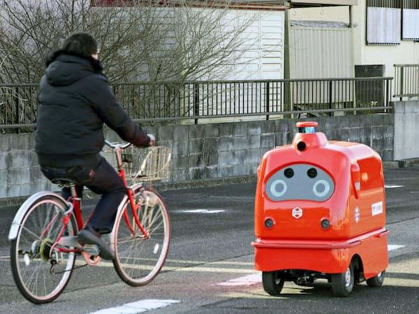 自動配達ロボットの走行実験は日本郵便なども実施している(1月、福島県浪江町)