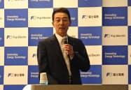 中期経営計画を発表する北沢社長(20日、東京都品川区)