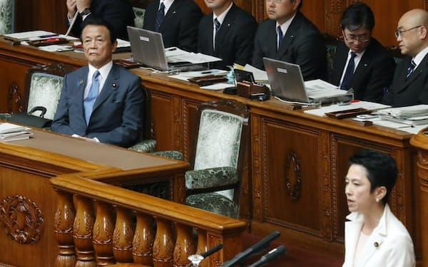 参院本会議で自身の問責決議案の趣旨説明を聞く麻生財務相兼金融相(21日)
