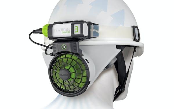 TJMデザインが開発した冷却ファン「風雅ヘッド2」はヘルメットに後付けで装着できる