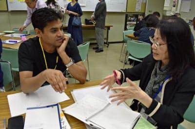 東京都中央区で開かれたボランティアによる日本語教室