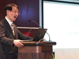 トルコの拠点の開所式であいさつする久保千春学長(21日、アンカラ)