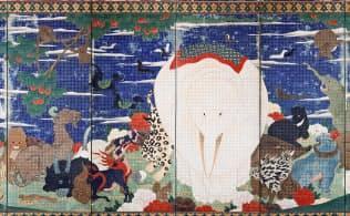 伊藤若冲「鳥獣花木図屏風(右隻)」(六曲一双、紙本着色、江戸時代、18世紀、出光美術館蔵)