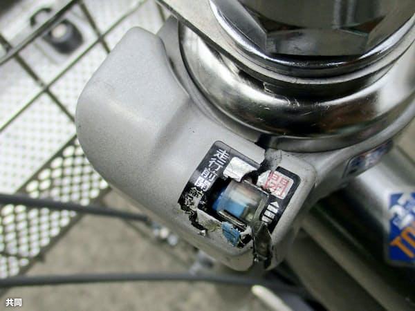 ケースが破損したブリヂストンサイクル製造の施錠装置「一発二錠」=共同