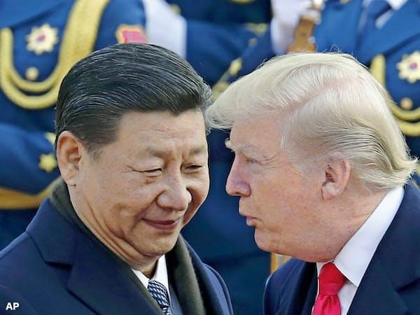 中国の習近平国家主席(左)とトランプ米大統領(2017年11月)=AP