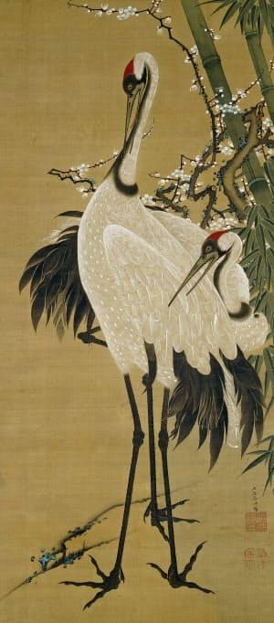伊藤若冲「竹梅双鶴図」(一幅、絹本着色、江戸時代 18世紀、出光美術館蔵)