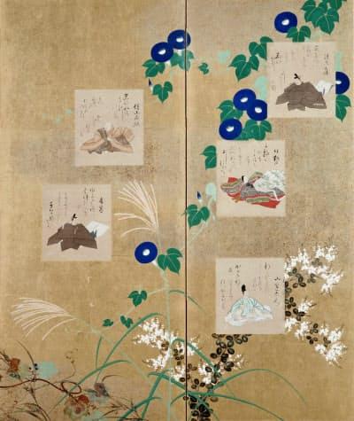 酒井抱一「三十六歌仙図屏風」(左隻部分、六曲一双、紙本金地着色/色紙・絹本着色、江戸時代、19世紀、出光美術館蔵)