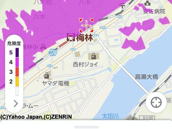 広島県とヤフーが共同開発した「防災マップ」は土砂災害の危険度を5段階で表示する