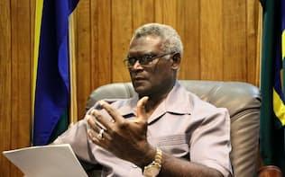 ソロモン諸島のソガバレ首相は年内に中台を巡る外交関係を決定する(ホニアラ)