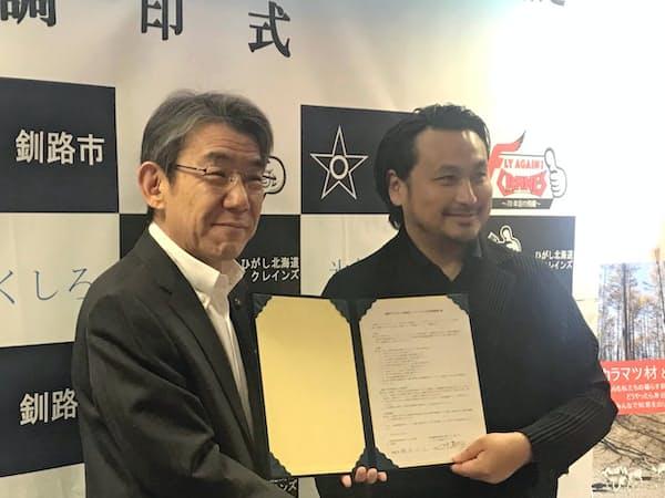 連携協定を結んだ釧路市の蝦名大也市長(写真左)と、ひがし北海道クレインズの田中茂樹代表業務執行社員