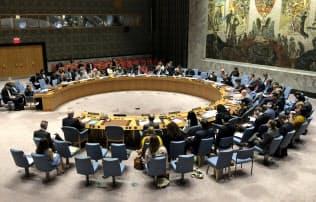 イランの核合意に関する会合を開く国連安全保障理事会(26日、ニューヨーク)